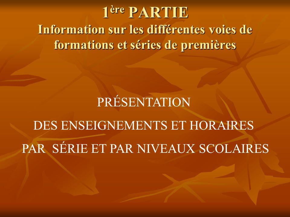 1ère PARTIE Information sur les différentes voies de formations et séries de premières