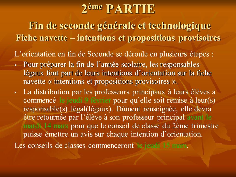 2ème PARTIE Fin de seconde générale et technologique Fiche navette – intentions et propositions provisoires