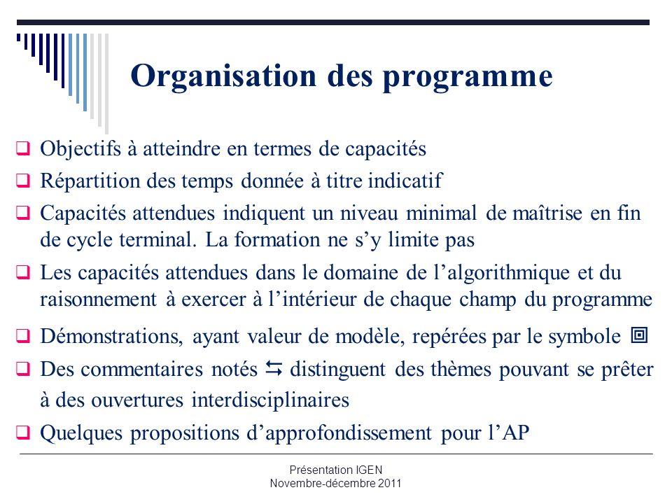 Organisation des programme