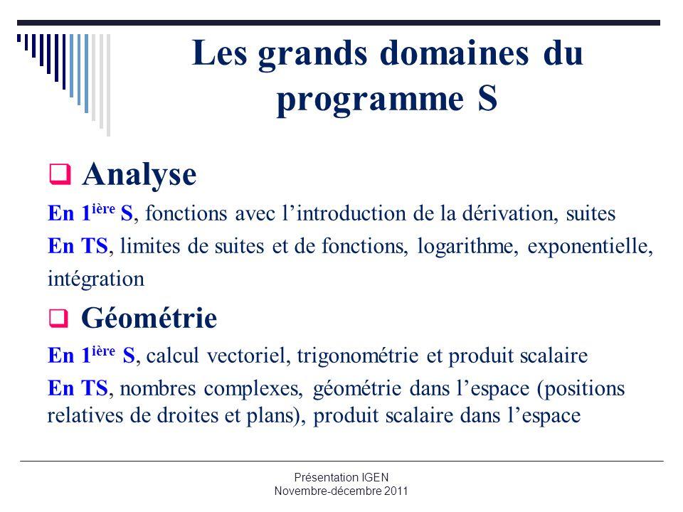 Les grands domaines du programme S