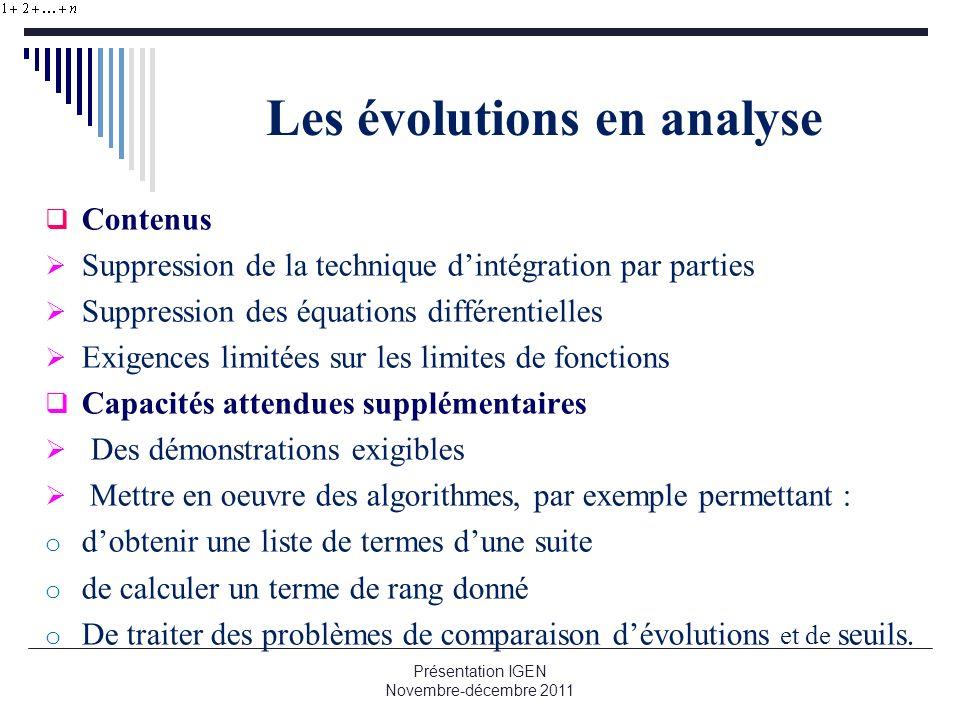 Les évolutions en analyse