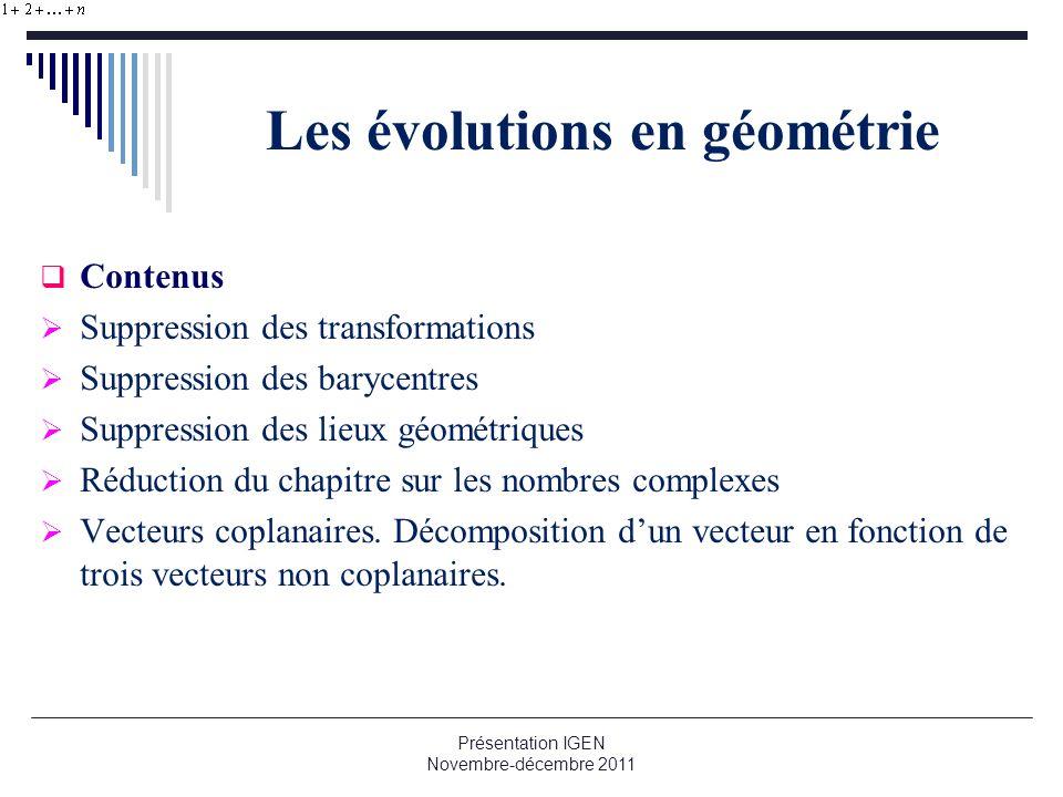 Les évolutions en géométrie