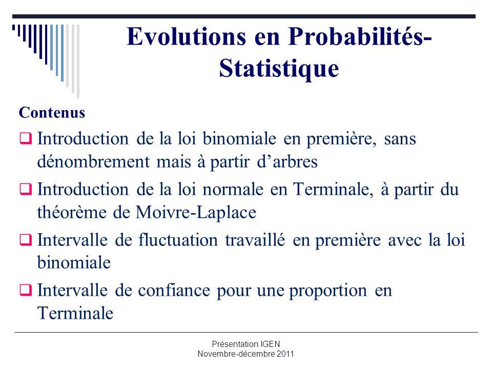 Evolutions en Probabilités-Statistique