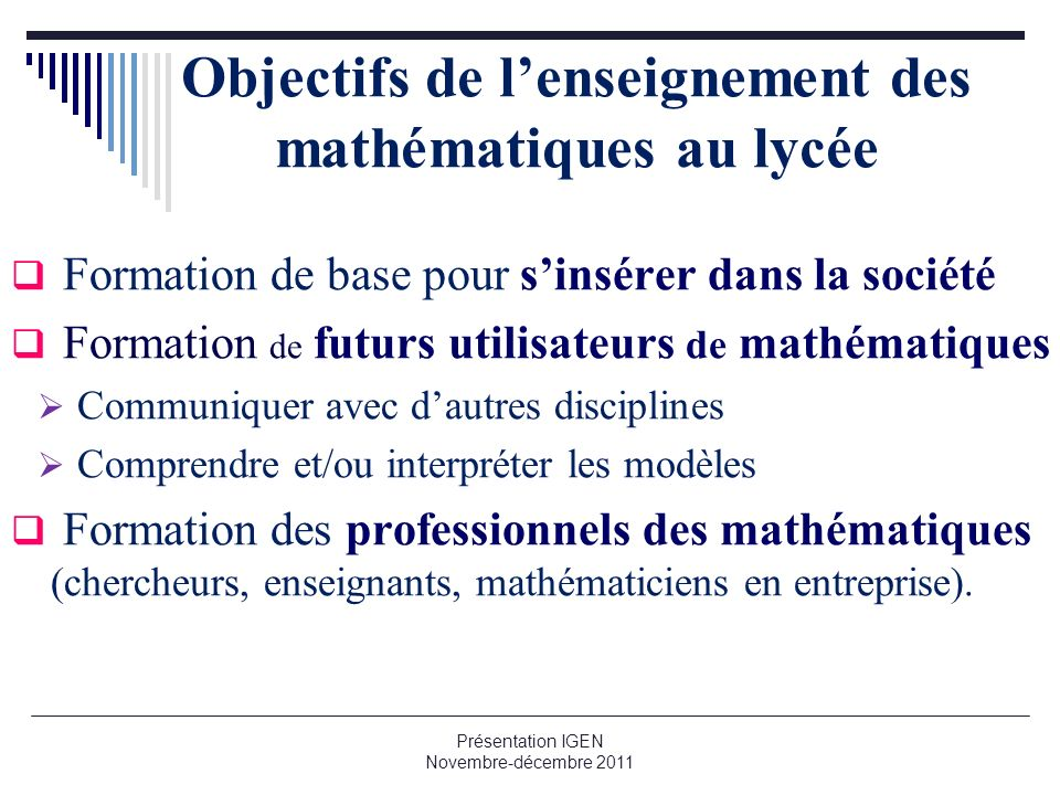 Objectifs de l'enseignement des mathématiques au lycée