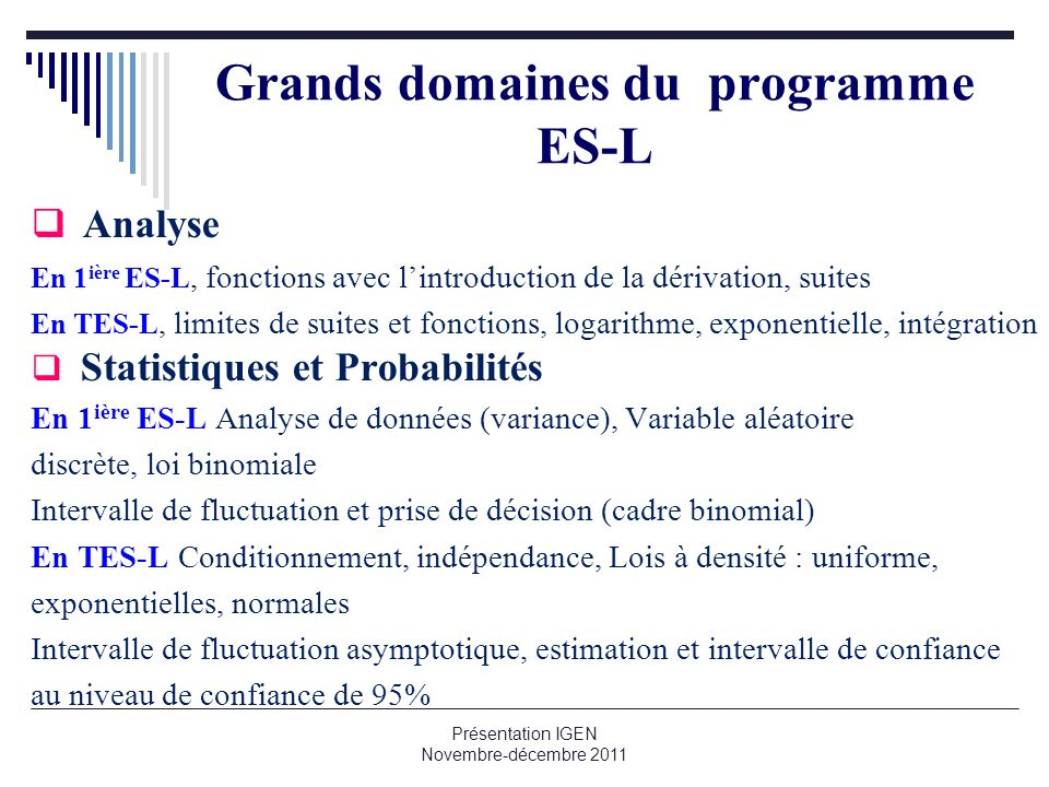 Grands domaines du programme ES-L