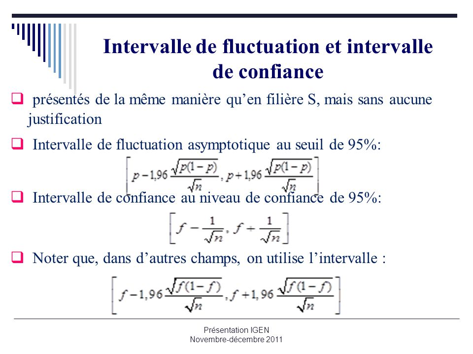Intervalle de fluctuation et intervalle de confiance