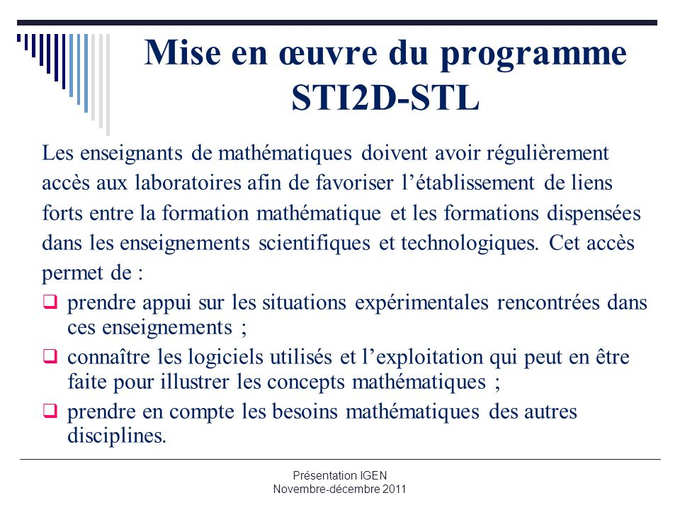 Mise en œuvre du programme STI2D-STL