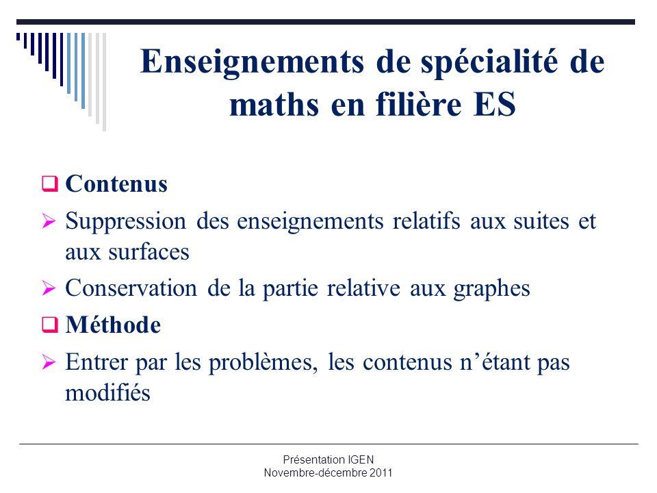 Enseignements de spécialité de maths en filière ES