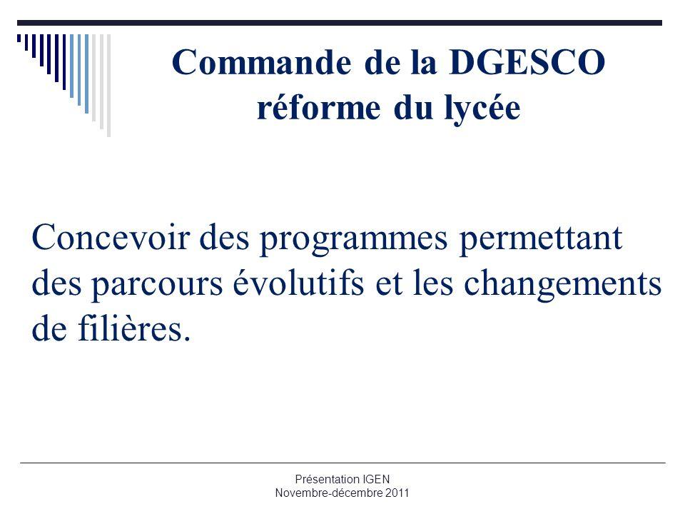 Commande de la DGESCO réforme du lycée