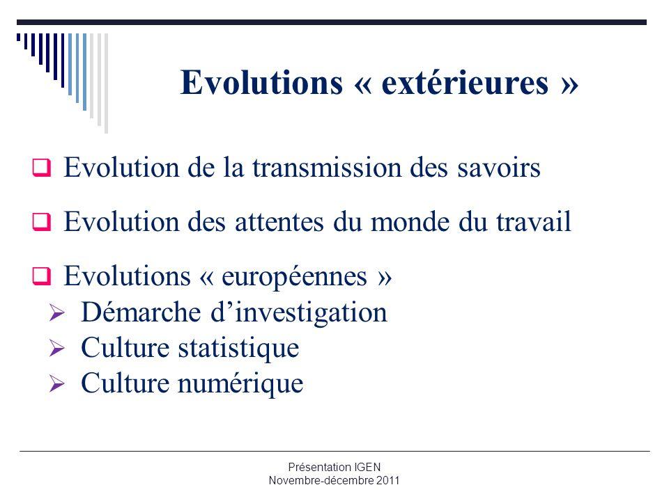 Evolutions « extérieures »