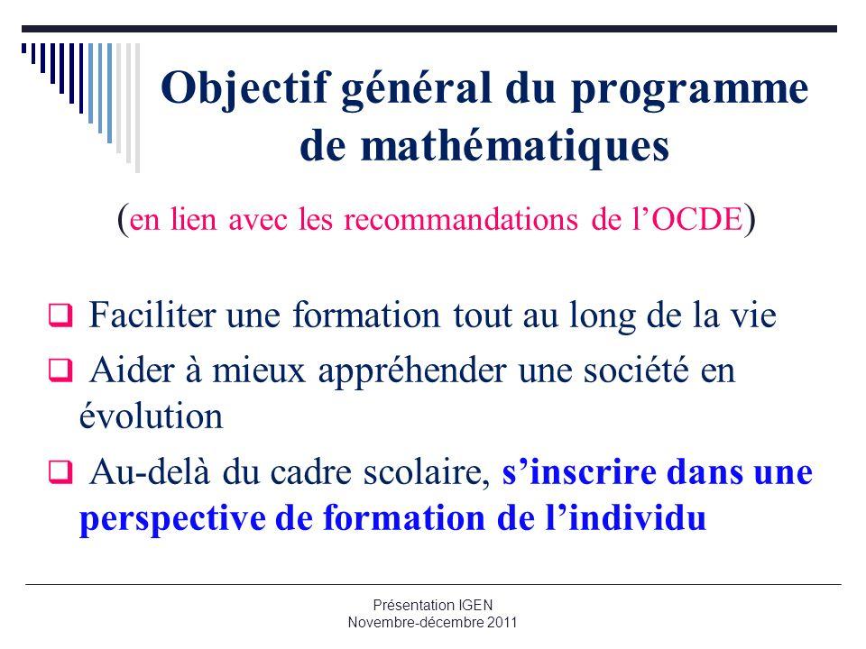 Objectif général du programme de mathématiques