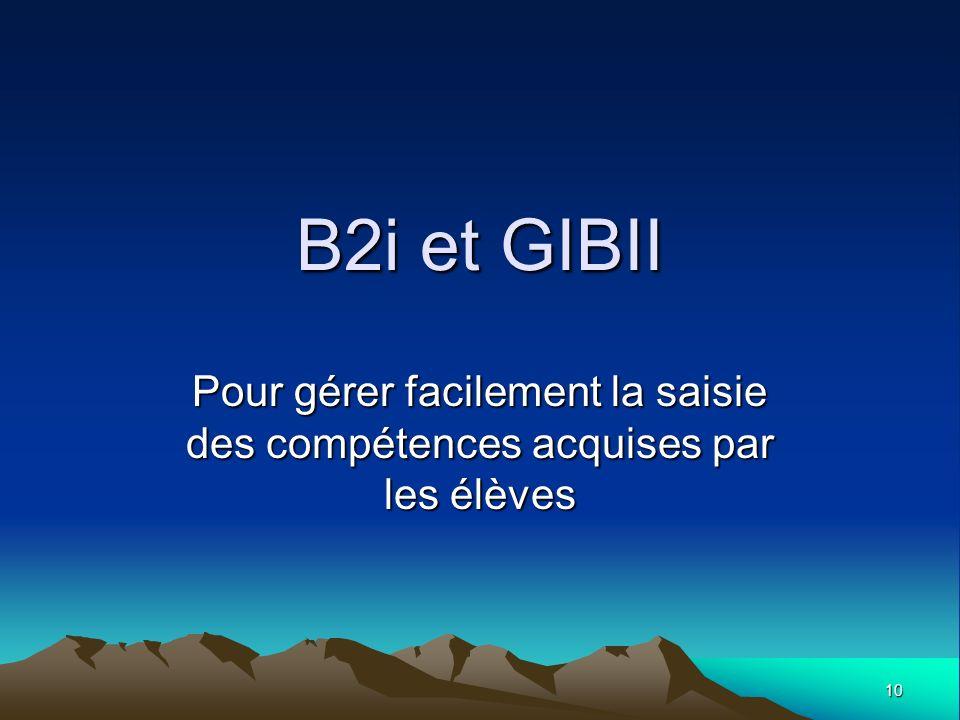 B2i et GIBII Pour gérer facilement la saisie des compétences acquises par les élèves