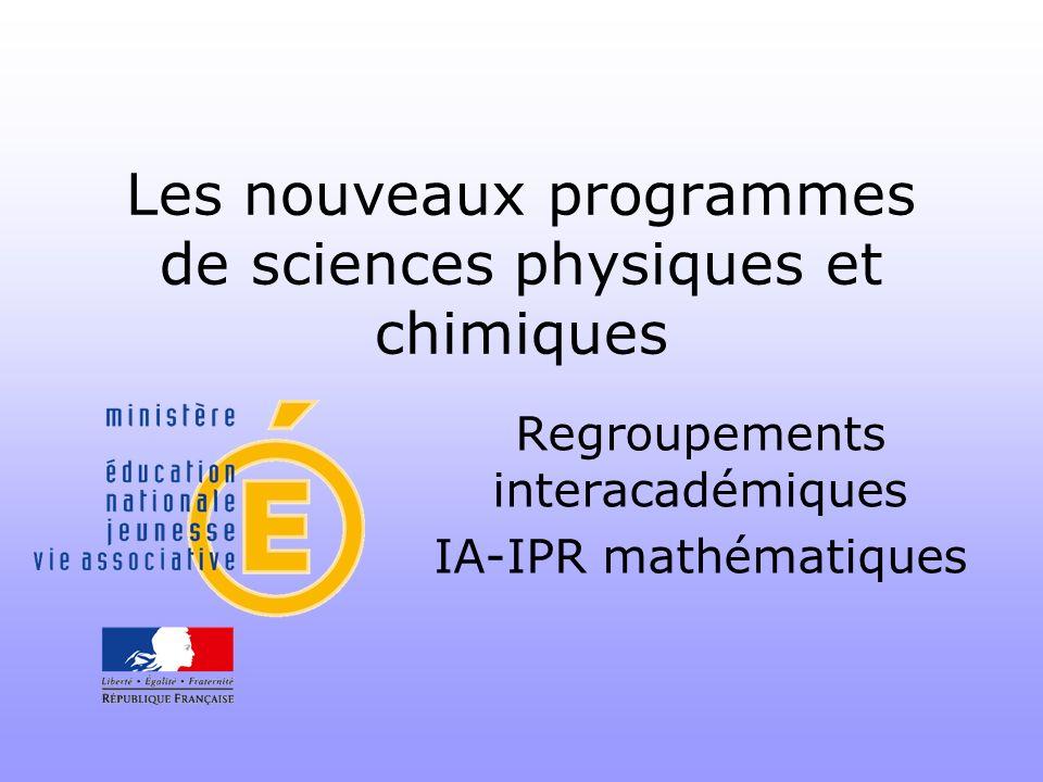 Les nouveaux programmes de sciences physiques et chimiques