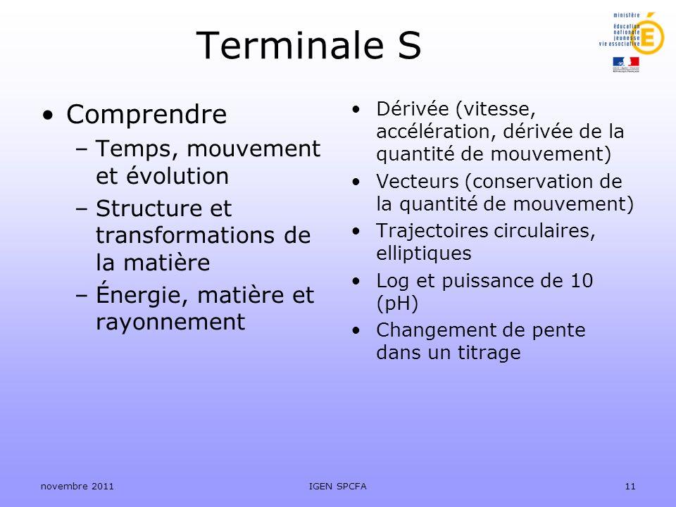 Terminale S Comprendre Temps, mouvement et évolution