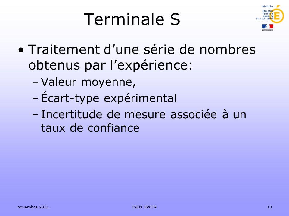 Terminale S Traitement d'une série de nombres obtenus par l'expérience: Valeur moyenne, Écart-type expérimental.