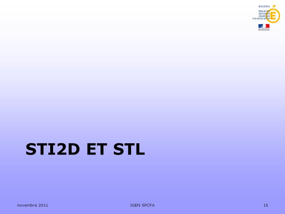 STI2D et stl novembre 2011 IGEN SPCFA
