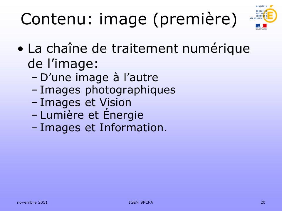 Contenu: image (première)
