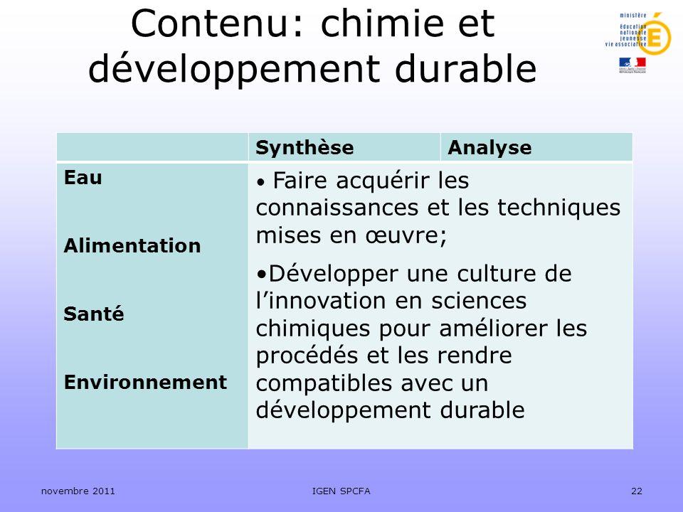 Contenu: chimie et développement durable