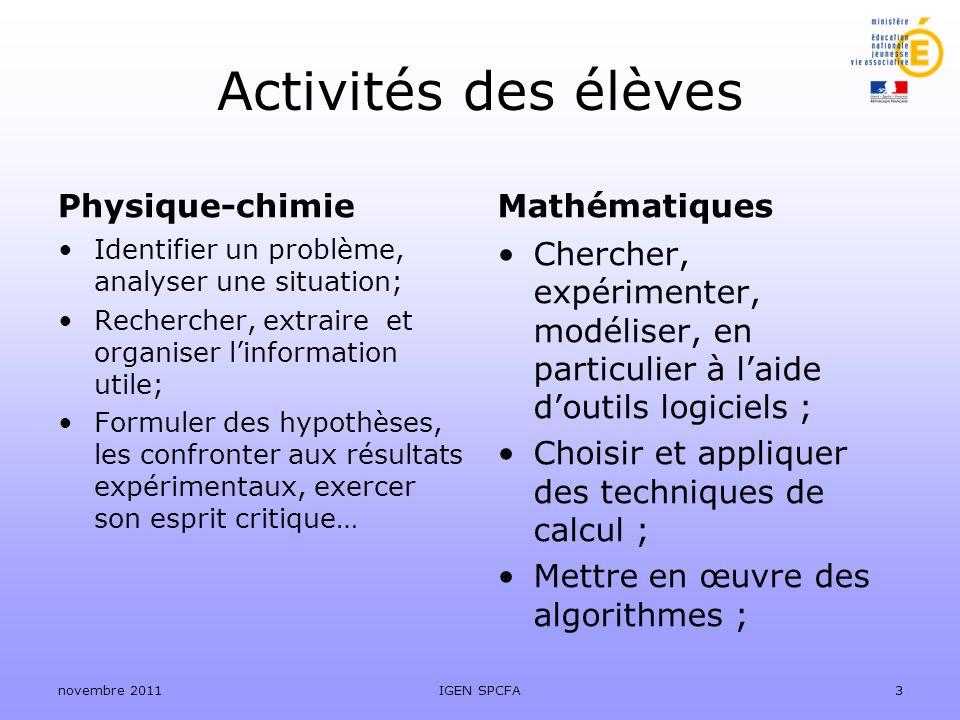 Activités des élèves Physique-chimie Mathématiques