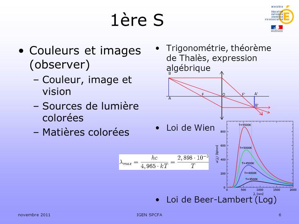 1ère S Couleurs et images (observer) Couleur, image et vision