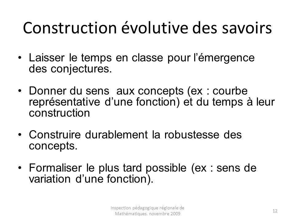 Construction évolutive des savoirs