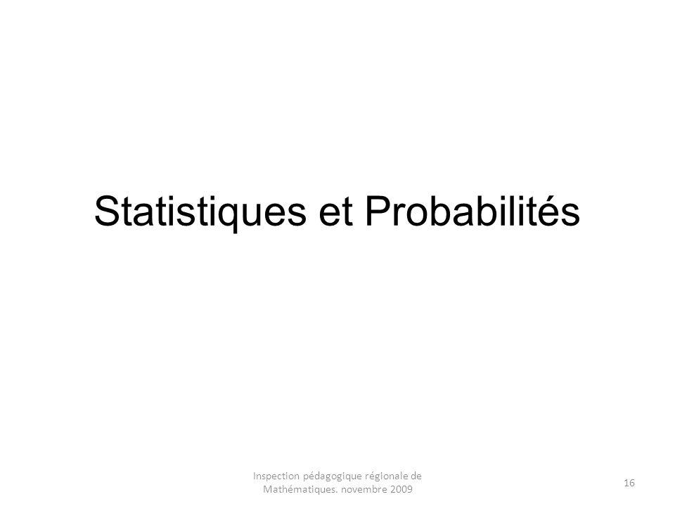 Statistiques et Probabilités