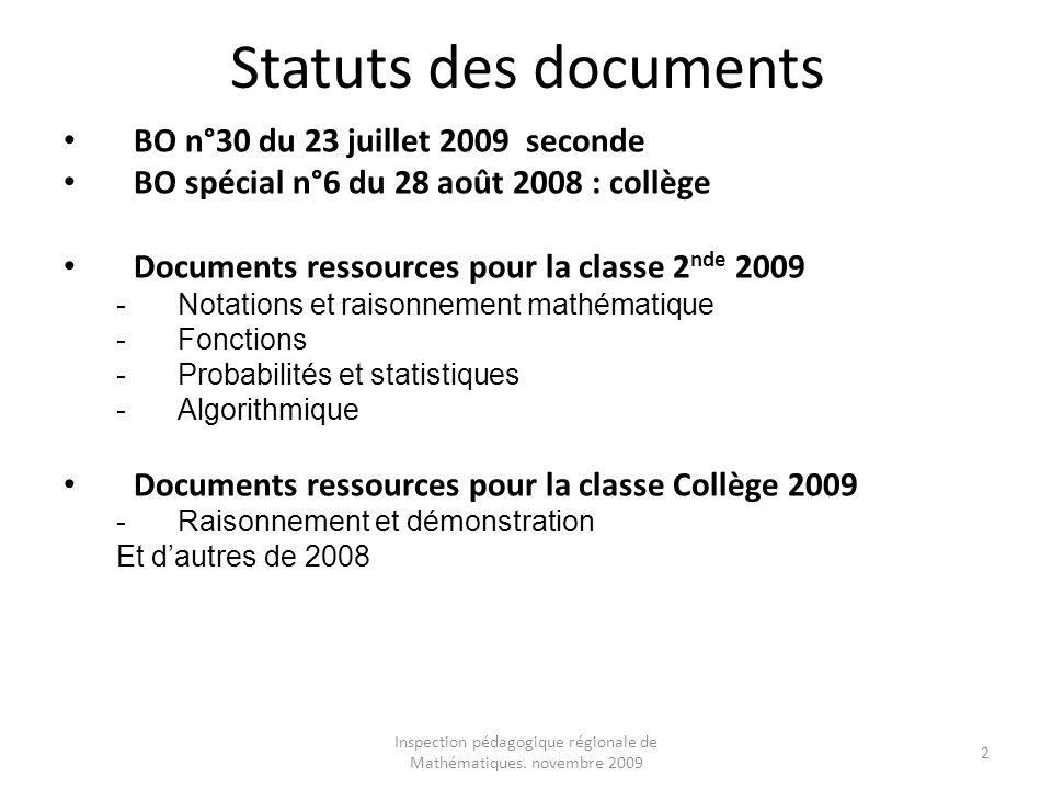 Inspection pédagogique régionale de Mathématiques. novembre 2009
