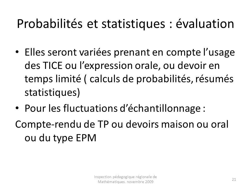 Probabilités et statistiques : évaluation