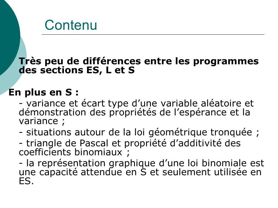 Contenu Très peu de différences entre les programmes des sections ES, L et S. En plus en S :