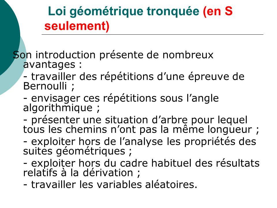 Loi géométrique tronquée (en S seulement)