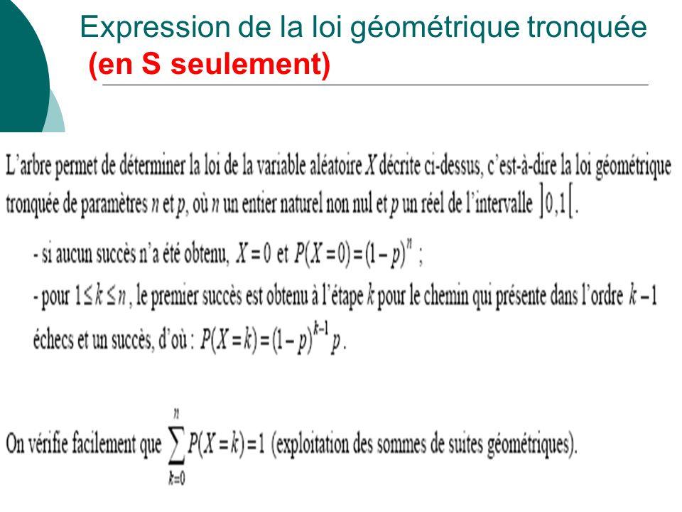 Expression de la loi géométrique tronquée (en S seulement)