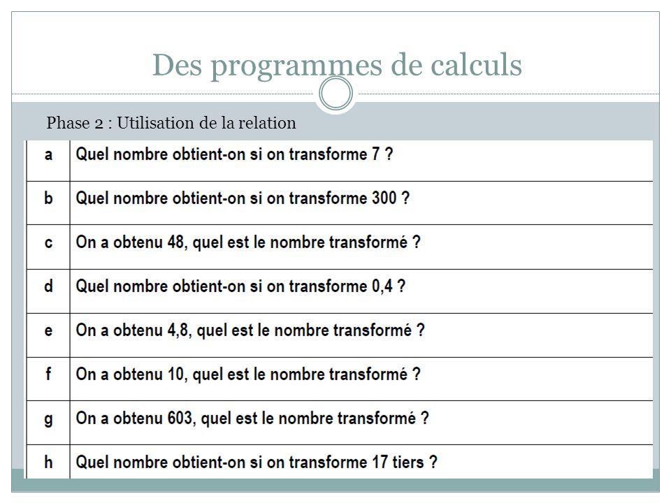 Des programmes de calculs