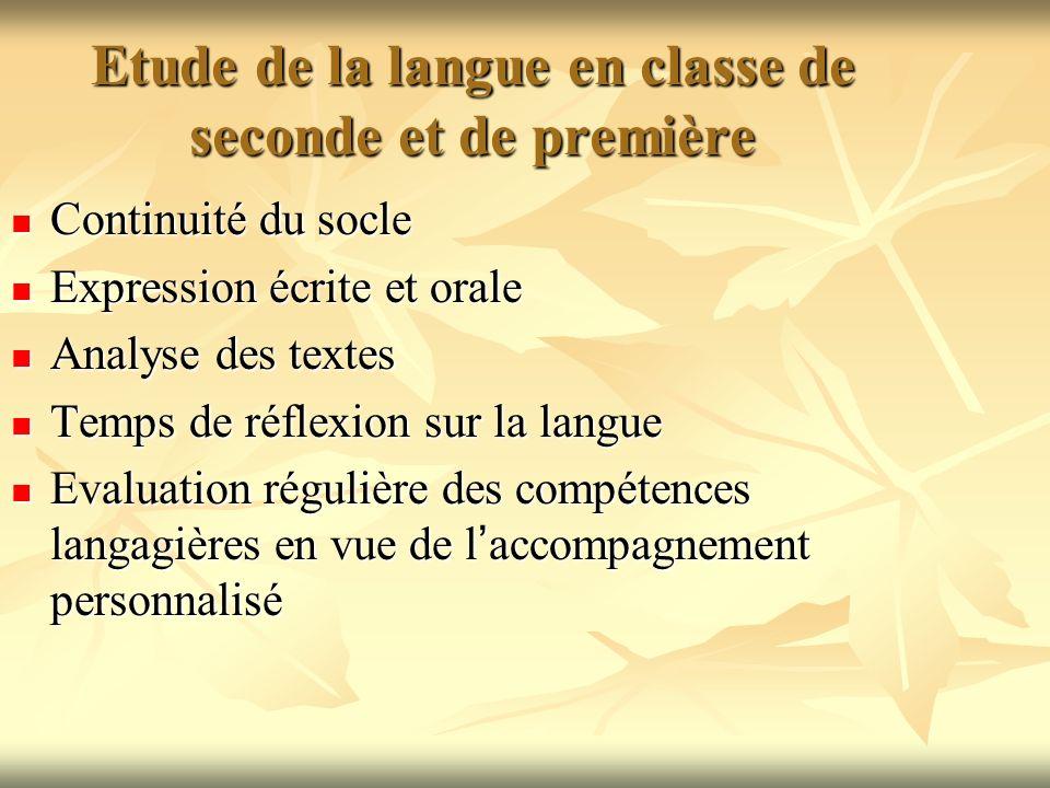 Etude de la langue en classe de seconde et de première