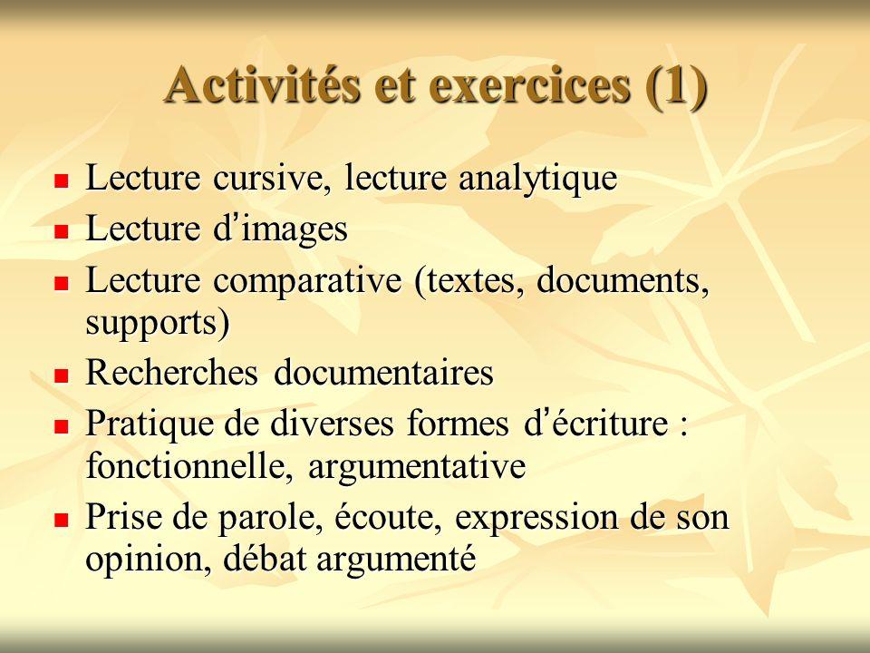 Activités et exercices (1)