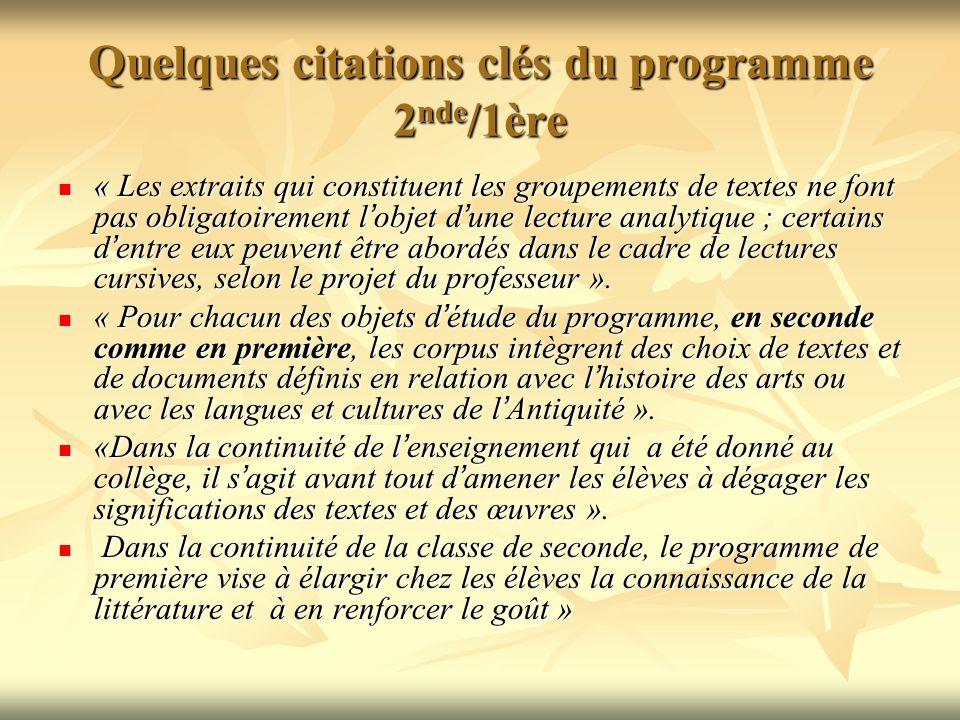 Quelques citations clés du programme 2nde/1ère