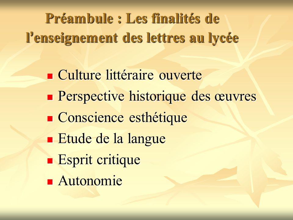 Préambule : Les finalités de l'enseignement des lettres au lycée