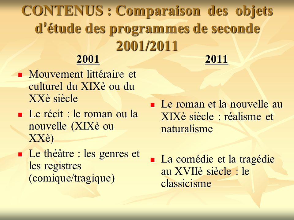CONTENUS : Comparaison des objets d'étude des programmes de seconde 2001/2011