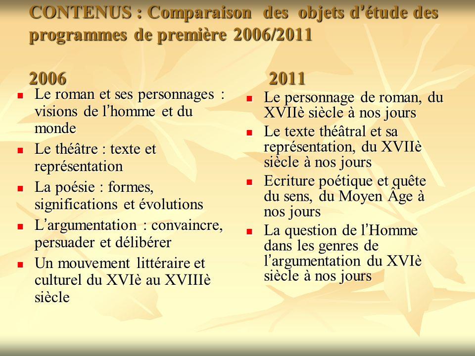 CONTENUS : Comparaison des objets d'étude des programmes de première 2006/2011 2006 2011