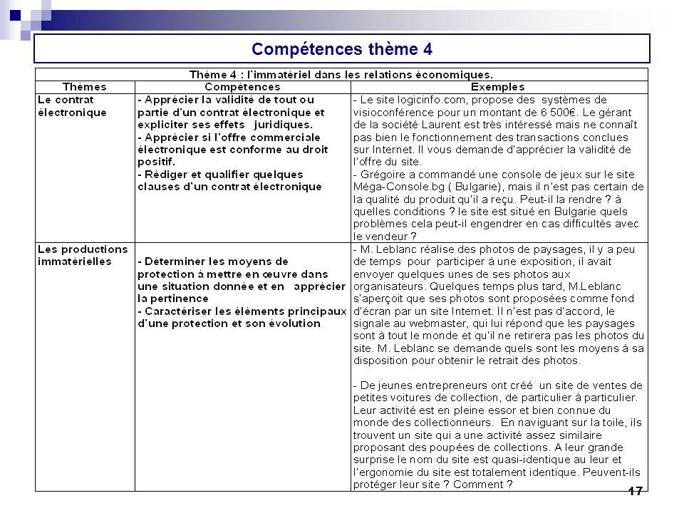Compétences thème 4