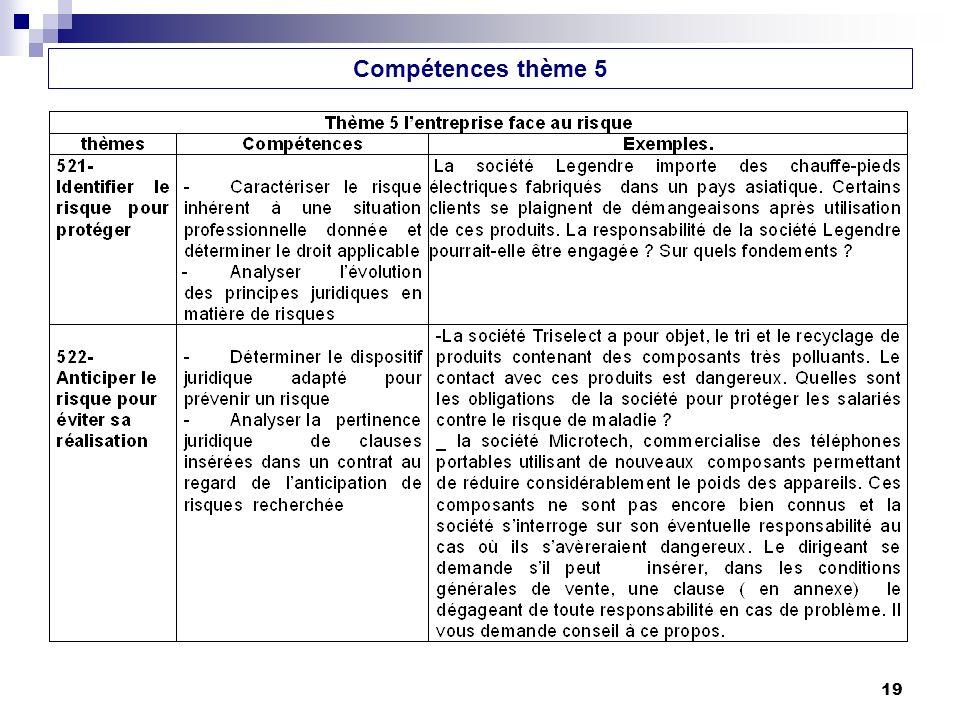 Compétences thème 5