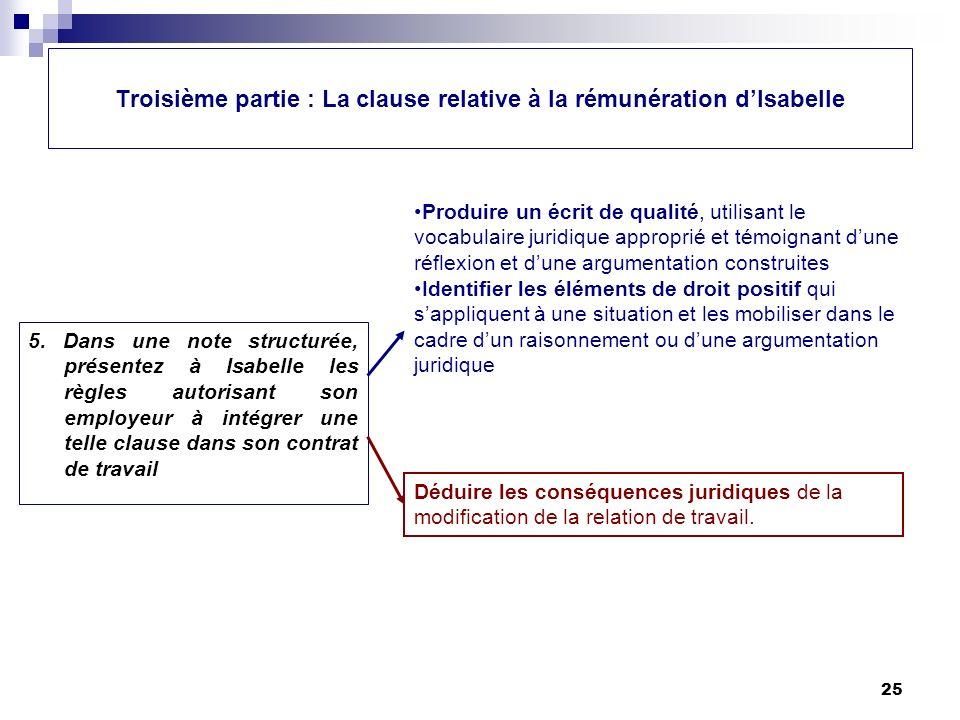 Troisième partie : La clause relative à la rémunération d'Isabelle