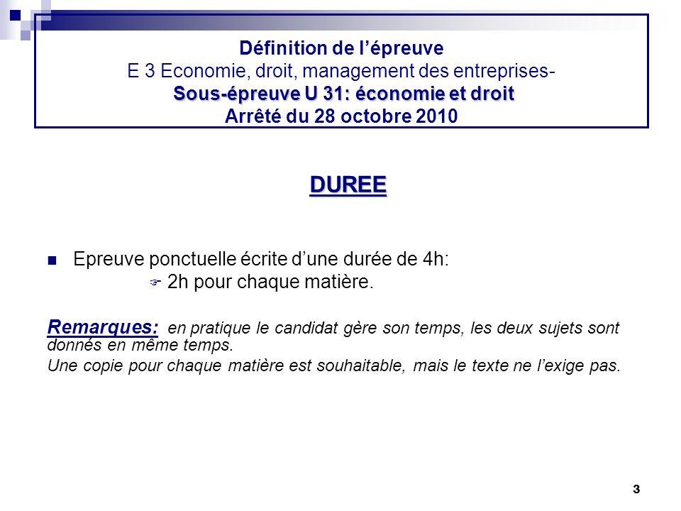 Définition de l'épreuve E 3 Economie, droit, management des entreprises- Sous-épreuve U 31: économie et droit Arrêté du 28 octobre 2010