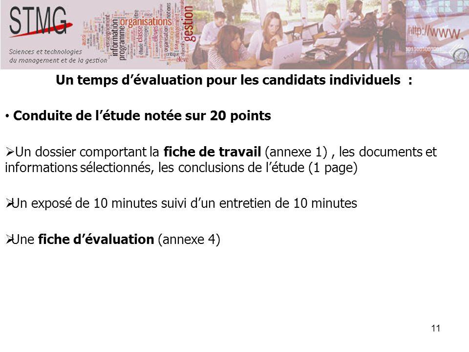 Un temps d'évaluation pour les candidats individuels :