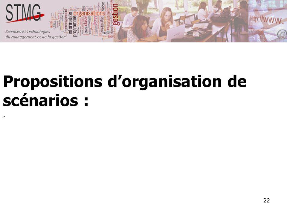 Propositions d'organisation de scénarios :