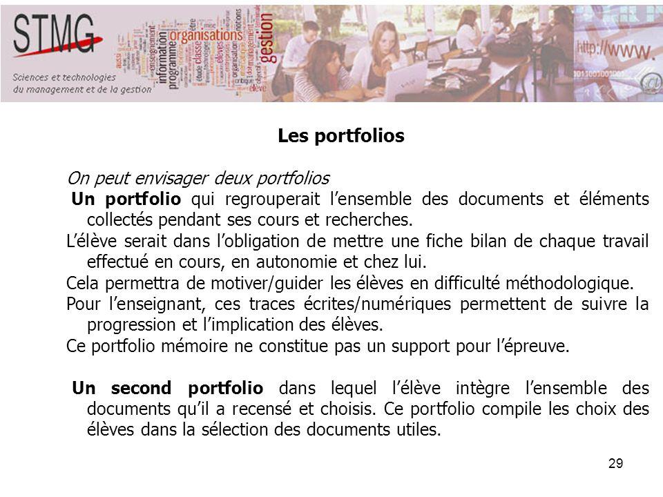 Les portfolios On peut envisager deux portfolios