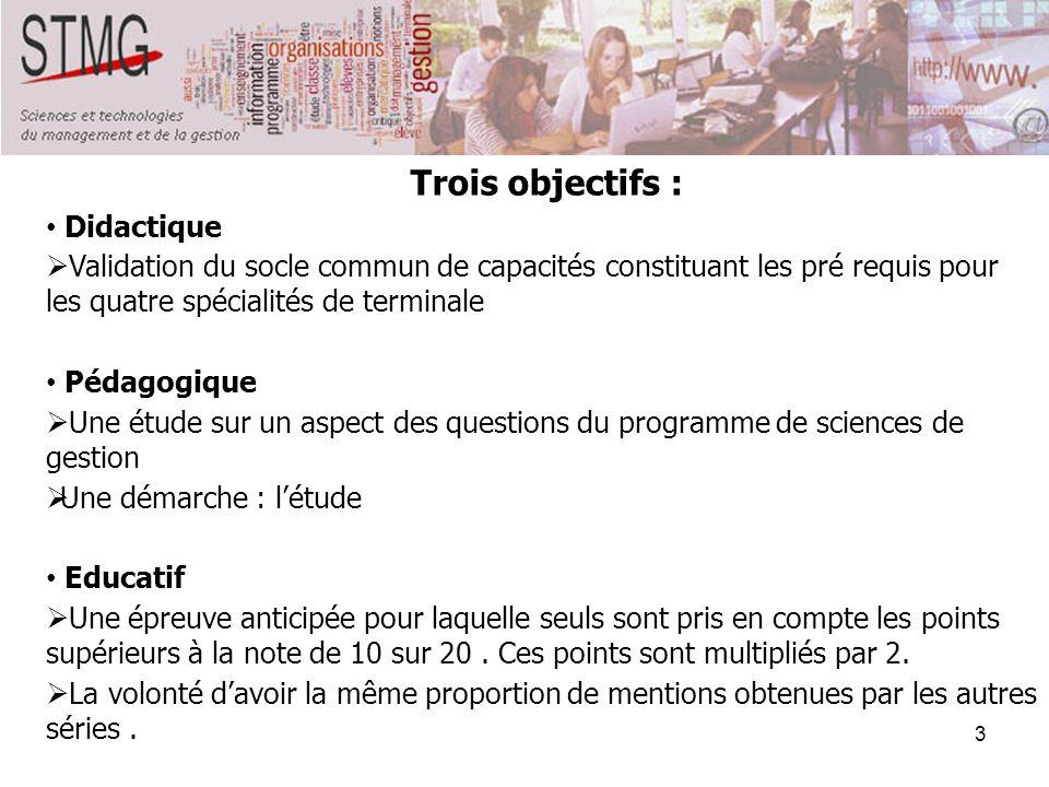 Trois objectifs : Didactique. Validation du socle commun de capacités constituant les pré requis pour les quatre spécialités de terminale.