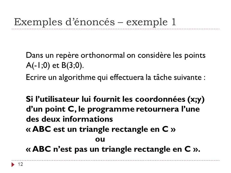 Exemples d'énoncés – exemple 1