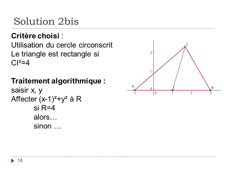 Solution 2bis Critère choisi : Utilisation du cercle circonscrit