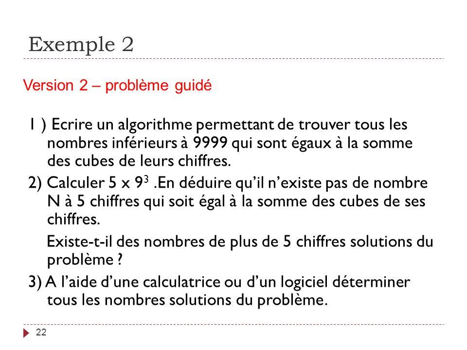 Exemple 2 Version 2 – problème guidé.