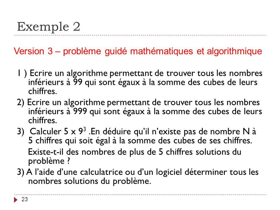 Exemple 2 Version 3 – problème guidé mathématiques et algorithmique